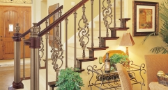 European interior design showily aluminum stair railing, antique copper color plating fence