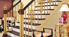 European interior design classical aluminum stair railing, golden color plating and flowers carving fence