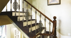 European interior design classical aluminum stair railing, antique green plating and flowers carving fence