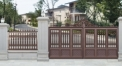 luxury red brown villa outside gate, security aluminum door