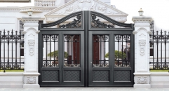 noble black villa outside gate, security aluminum door
