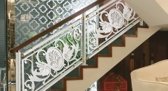 showily style silver copper flowers carving stair railing, high quality workmanship fence