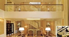 modern art style golden copper flowers carving stair railing, exquisite workmanship fence