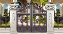 showily brown villa outside gate, security aluminum door