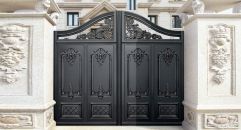 splendid black villa outside gate, security aluminum door