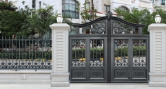 solid black villa outside gate, security aluminum door
