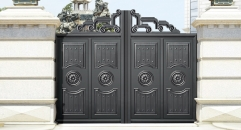 imposing black villa outside gate, security aluminum door