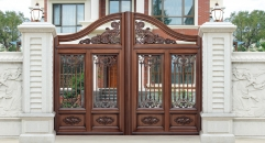 luxury light brown color villa outside gate, security aluminum door