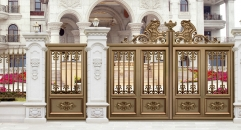 luxury golden villa outside gate, security aluminum door