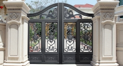 magnificent black villa outside gate, flowers carving security aluminum door