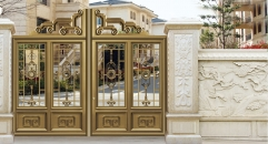magnificent golden villa outside gate, security aluminum door