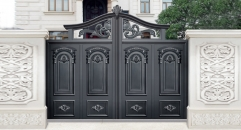 magnificent black villa outside gate, security aluminum door
