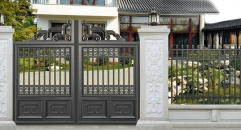 classical black villa outside gate, security aluminum door