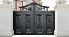 imposing black villa outside gate, flowers carving security aluminum door