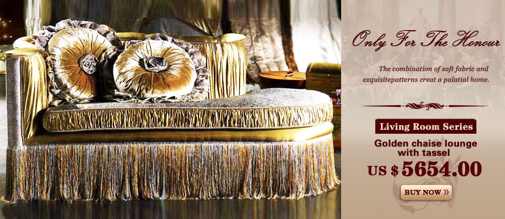 Golden chaise lounge with tassel