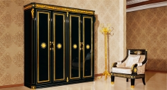 luxury Italy style wood carving foor-door wardrobe