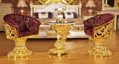 luxury Italy style wood carving gold leisure table and chair