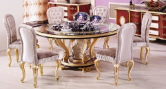 luxury European style woodcarving Round Dining Table set, Kitchen Cabinet