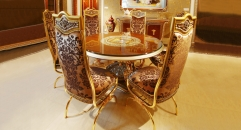 luxury European style woodcarving round dining table, armless chair