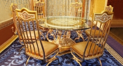 luxury European style woodcarving round table, armless chair