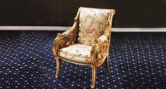 classical Baroque style wood carving armchair, flower decorated