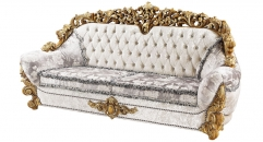 antique Baroque style wood carving 3 seater sofa
