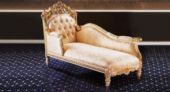 antique Baroque style wood carving couch, royal chair, chaise lounge