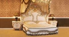 antique Baroque style wood carving bed