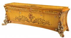 classical Baroque style wood carving rose TV stand/ cabinet