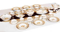 70 pcs golden porcelain flower Bone China Dinnerware