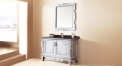 silver oak, black galaxy marble cabinet and mirror