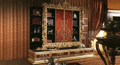 Imperial Wood Carved Wall Cabinet w/ Sliding Door
