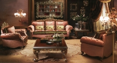 European style wood carved living room set