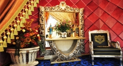 Imperial wood carved console table w/ mirror