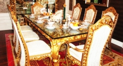 Imperial wood carved decorative dining room set