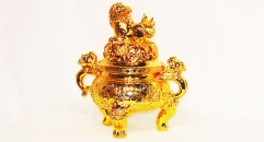 Hot sale Luxury golden 24k home decoration metal craft jar