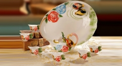 8 pieces flowers and birds spring style coffee set with tray, bone china tea set, high quality coffee set
