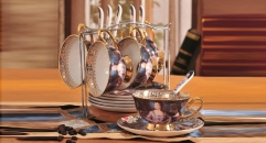 19 pieces the noble lady color black style coffee set, bone china tea set, high quality and fashion coffee set