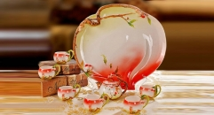 8 pieces mature peach style coffee set with tray, bone china tea set, high quality coffee set