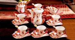 15 pieces the red peacock style coffee set, bone china tea set, high quality and fashion coffee set