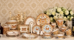 69 pieces classical pink butterfly, antique royal design tea set classical ceramic cofee and tea set ,royal dining set