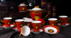 15 pieces gold woman head style red coffee set, bone china tea set, high quality and fashion coffee set