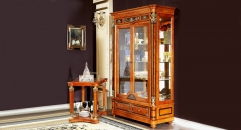 luxury and high quality brown color solid wood 2-door showcase
