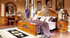 modern design luxury solid wood  bed and night table