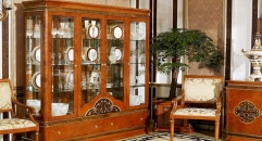 modern design classical red brown solid wood with glass 4-door showcase