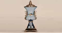 Luxury royal display coper and glass art decoration, antique european style trophy, double handle black glazed trophy