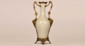 European style double handle copper and porcelain white color vase, luxury hand made vase, European style table vase