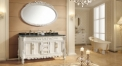white color ashtree solid wood cabinet and mirror, antique wood grain marble, three holes and double basins bathroom vanities