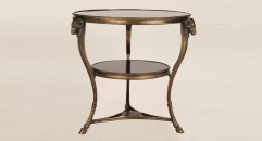 European golden copper and marble double-deck coffee table, luxury brown round table