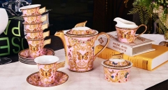 Precious royal ceramic pink background butterfly decorative cofee and tea set Birthday gift business gift (17 pieces )